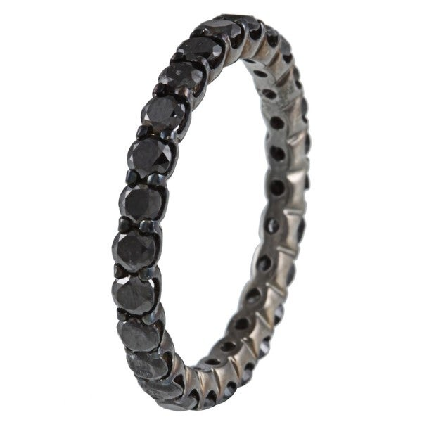 Victoria Kay 14k Gold and Black Rhodium 1 1/2ct TDW Black Diamond Eternity Ring