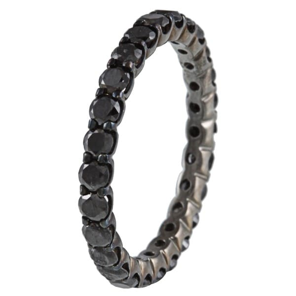 14k Gold and Black Rhodium 1 1/2ct TDW Black Diamond Eternity Ring