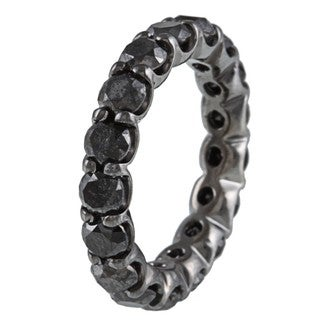 14k Gold and Black Rhodium 5 1/3ct TDW Black Diamond Eternity Band