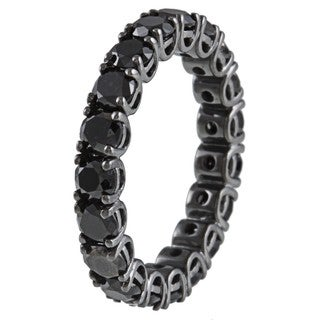 14k Gold and Black Rhodium 3 7/8ct TDW Black Diamond Eternity Band