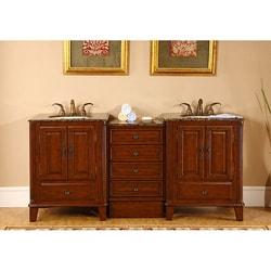 Silkroad Exclusive Granite Top 76-inch Double Sink Vanity Cabinet