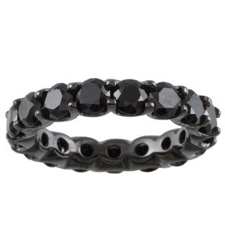14k Gold and Black Rhodium 4 1/4ct TDW Black Diamond Eternity Band