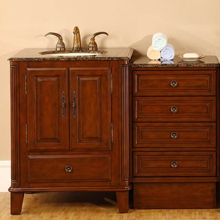 Silkroad Exclusive Granite Top 48.5-inch Single Sink Vanity Cabinet