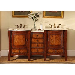 Silkroad Exclusive Marble Top 67-inch Double Sink Vanity Cabinet
