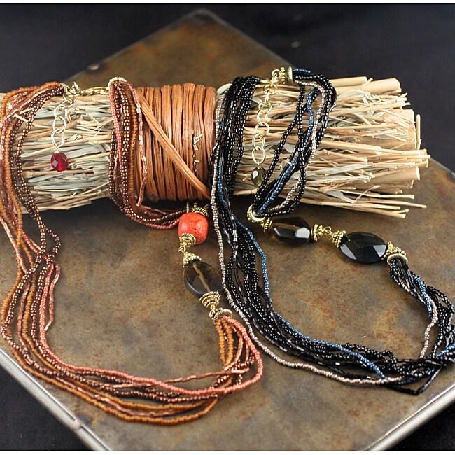 Peyote Bird Designs Beaded Sponge Coral or Onyx Necklace (China)