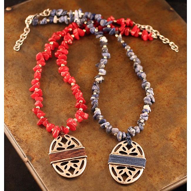 Peyote Bird Designs Stone Chip Pierced Oval Necklace