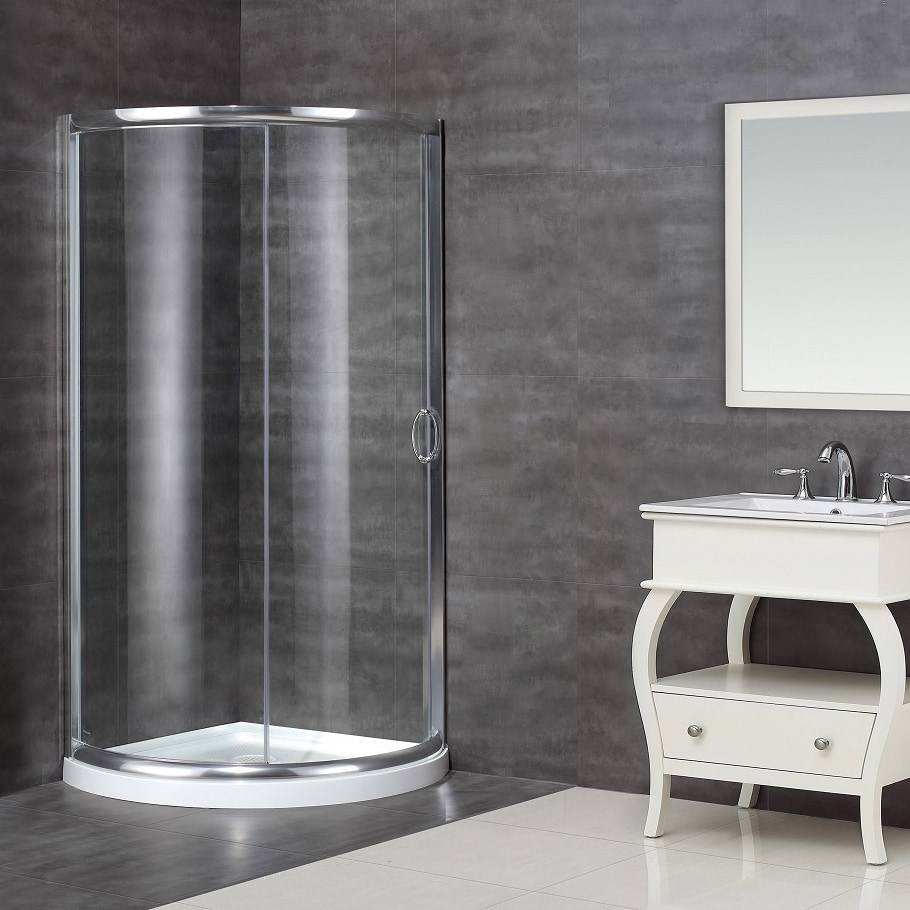 Aston 36 x 36-inch Neo-Round Clear Glass Shower Enclosure with Acrylic Base at Sears.com