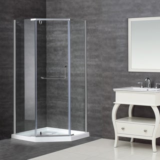 Aston 36 x 36-inch Clear Glass Neo-Angle Semi-Frameless Shower Enclosure with Acrylic Base