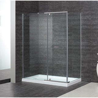 "Aston 60 x 35-inch 5/16"" Clear Glass Semi-Frameless Shower Enclosure with Acrylic Base"