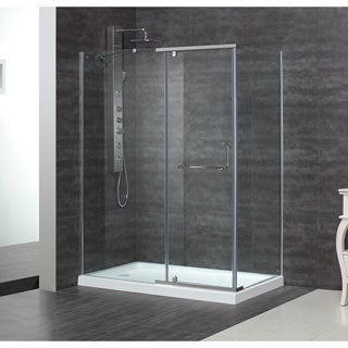 "Aston 60 x 35-inch 3/8"" Clear Glass Semi-Frameless Shower Enclosure with Acrylic Base"