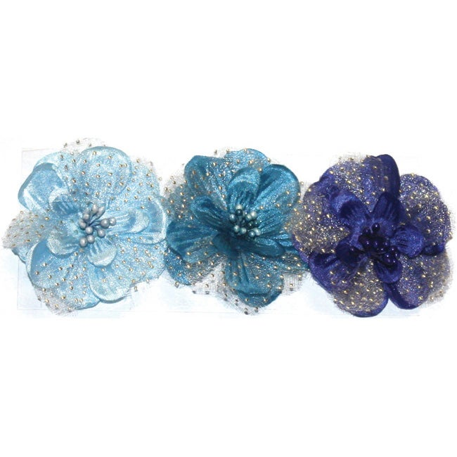 Fabscraps Small Blue Silk Flowers (Pack of 3)