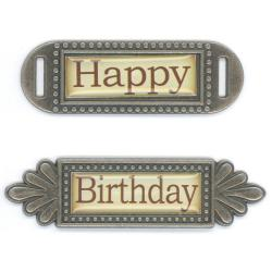 Fabscraps Happy Birthday Metal Embellishments