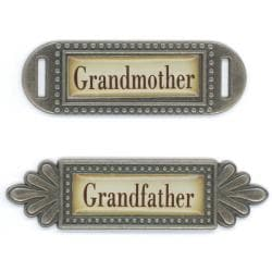 Fabscraps 'Grandmother/Grandfather' Metal Word Embellishment (Pack of 2)
