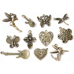 Fabscraps 'Old Brass 2' Boxed Charm Embellishments (Case of 100)