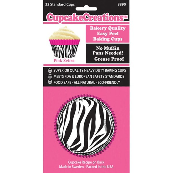 Cupcake Creations Pink Zebra Standard Baking Cups (Case of 32)