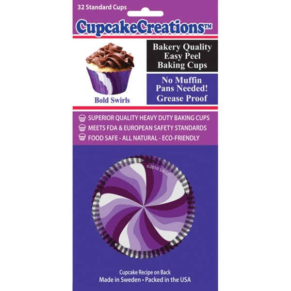 Cupcake Creations Purple Swirls Standard Baking Cups (Pack of 32)