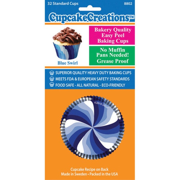 Cupcake Creations Blue Swirls Standard Baking Cups (Pack of 32)