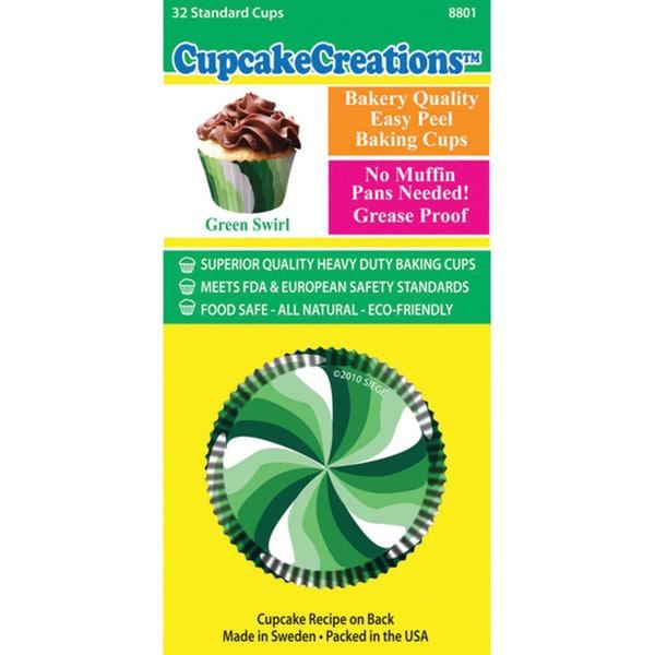 Cupcake Creations Green Swirls Standard Baking Cups (Pack of 32)