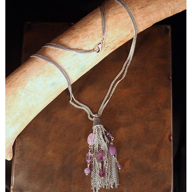 Peyote Bird Designs Amethyst Tassel Necklace (China)
