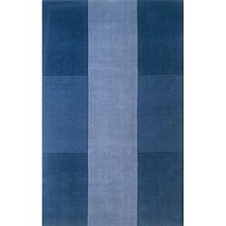 Hand-tufted Manhattan Blue Wool Rug (5'0 x 8'0)