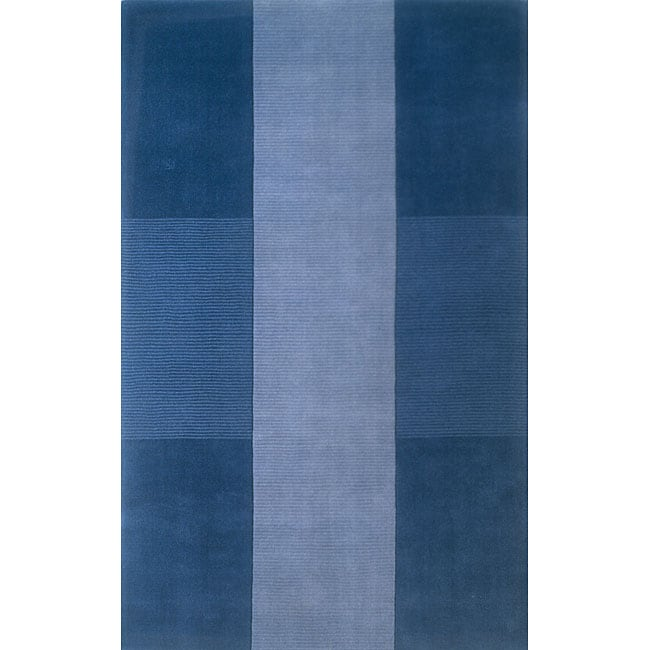 Manhattan Blue Hand-Loomed Wool Rug (8' x 11')