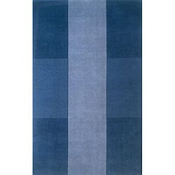 Hand-tufted Manhattan Blue Wool Rug (8'0 x 11'0)