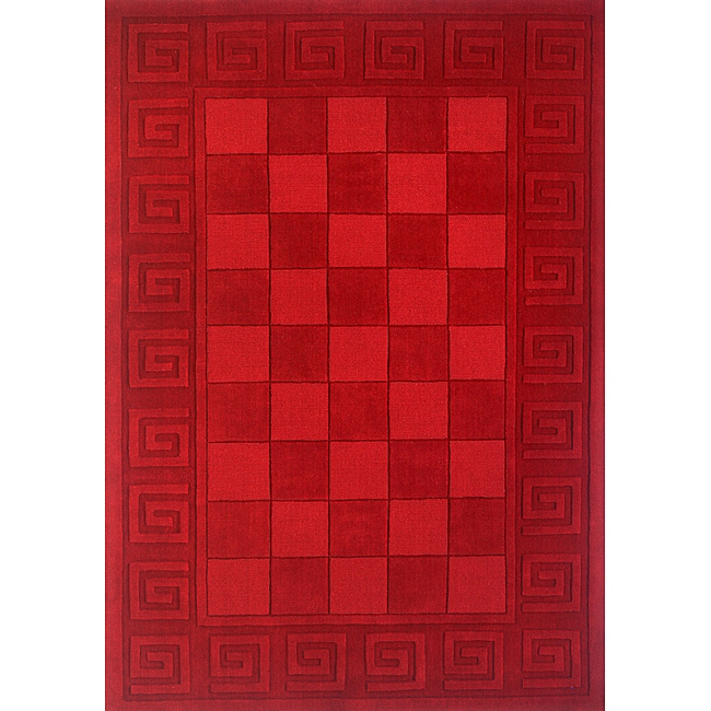 Manhattan Red Blocks Hand-Loomed Wool Rug (5' x 8')