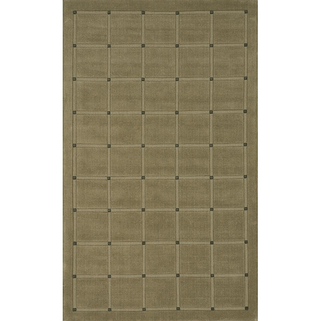 Manhattan Small Blocks Sage Hand-Loomed Wool Rug (8' x 11')