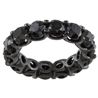 14k Gold and Black Rhodium 9 3/8ct TDW Black Diamond Eternity Band