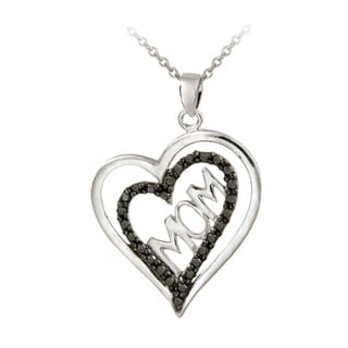 DB Designs Sterling Silver Black Diamond Accent Double Heart Mom Necklace