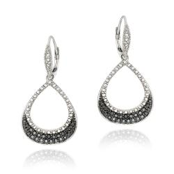 DB Designs Sterling Silver Black Diamond Accent Leverback Earrings