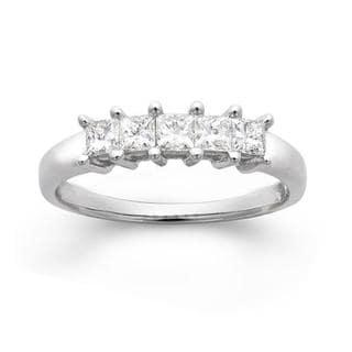14k White Gold 1/2ct TDW Princess-cut Diamond Wedding Band (G-H, I1)