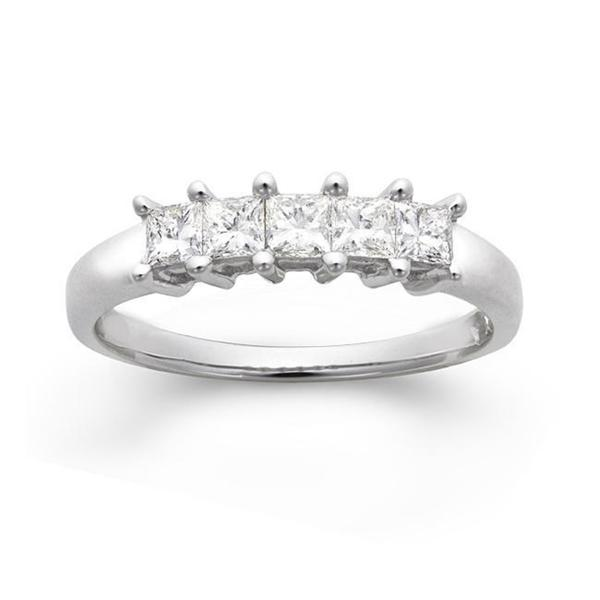 14k White Gold 1/2ct TDW Princess-cut Diamond Wedding Band (G-H, I1)