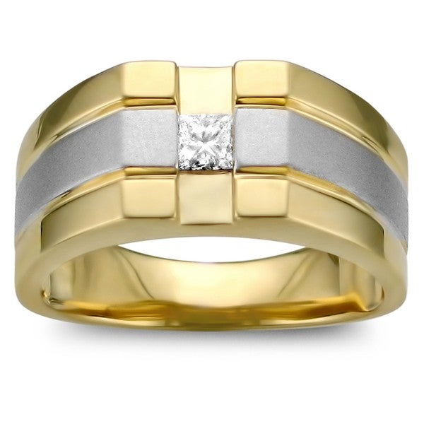 14k Two-tone Gold 1/4ct TDW Men's Diamond Ring (H-I, I1-I2)