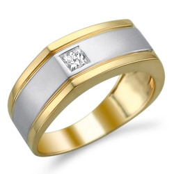 14k Two-tone Gold 1/5ct TDW Diamond Men's Wedding Band (H-I, I1-I2)