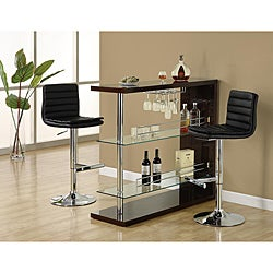 Cappuccino and Chrome Metal 48-inch Bar Table