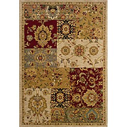 Berkley Beige/Red Transitional Area Rug (5'3 x 7'6)