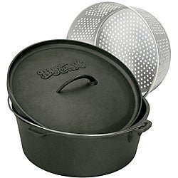 Bayou Classic Cast Iron 16-qt Dutch Oven with Perforated Basket and Lid
