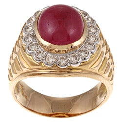 Pre-owned 18k Yellow Gold 7/8ct TDW and Ruby Estate Ring (J-K, VS1-VS2)