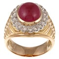 18k Yellow Gold 7/8ct TDW and Ruby Estate Ring (J-K, VS1-VS2)