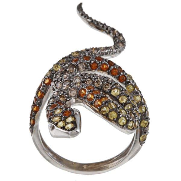 18k White Gold 7/8ct TDW Diamond and Sapphire Estate Snake Ring (I1-I2)