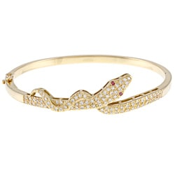 18k Yellow Gold 1 5/8ct TDW Diamond Snake Estate Bangle Bracelet (I-J, SI1-SI2)