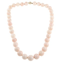 14k Yellow Gold Pink Coral Bead Estate Necklace