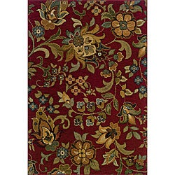 Berkley Red/Green Transitional Area Rug (7'8 x 10'10)