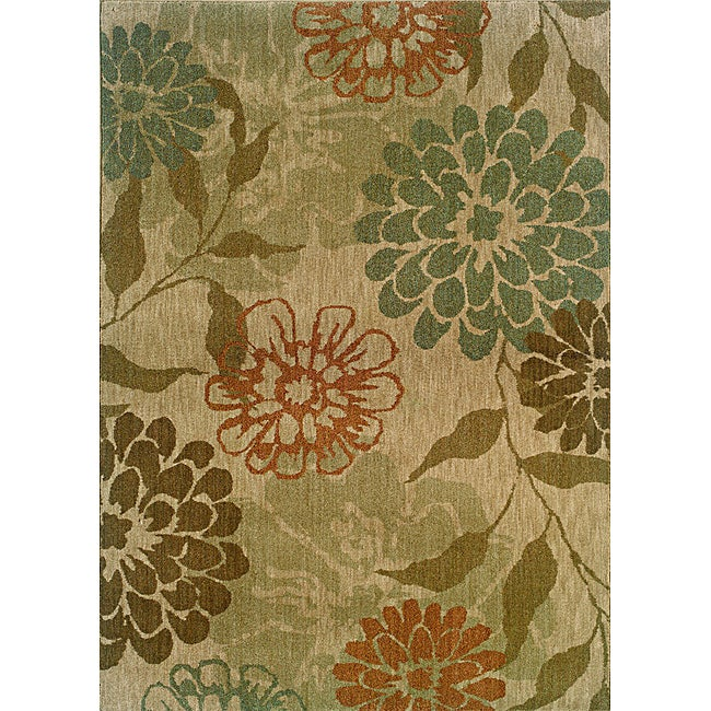 Berkley Beige/ Floral Transitional Area Rug (5'3 x 7'6)