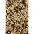 Berkley Floral Beige Transitional Area Rug (5'3 x 7'6)