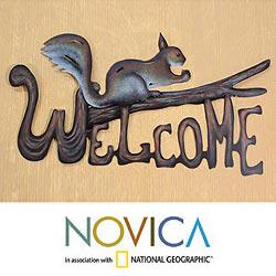 Steel 'Busy Squirrel' Welcome Sign Sculpture (Mexico)