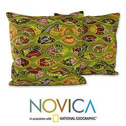 Set of Two Polyester 'Meeting Eyes' Cushion Covers (India)