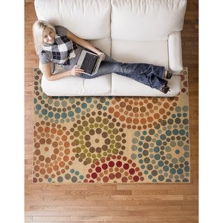 Gold/Blue Contemporary Area Rug (6'7 x 9'6)