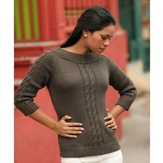 Women's Alpaca Wool 'Braided Cocoa' Sweater (Peru)